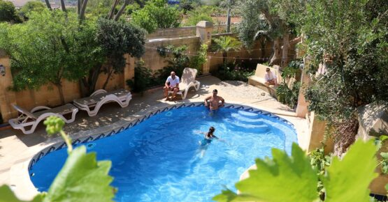 Pools view from one of the rooms at il-Wileg bed and brakfast in Gozo