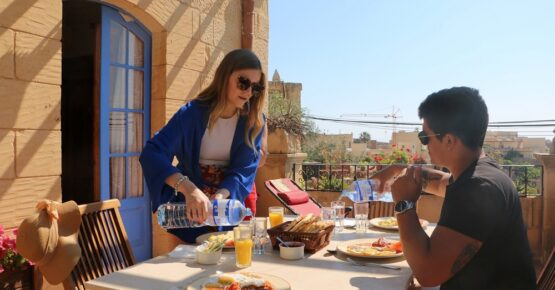 having breakfast at il Wileg bed and breakfast in Gozo