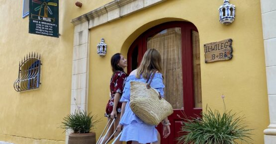 walking into the bed and breakfast in qala gozo
